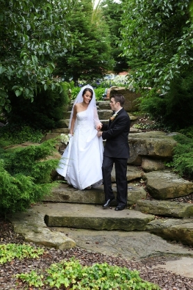 Wedding Couple on Stone Stairway